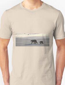 Silver Glow Panorama. Polar Bears at Sundown, Churchill, Canada  Unisex T-Shirt