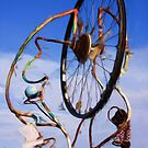 Bicycle wheel sculpture as pseudo oil painting by Sue Leonard