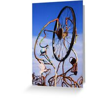 Bicycle wheel sculpture as pseudo oil painting Greeting Card