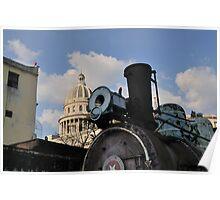 Old steam train & Capitolio, Cuba Poster