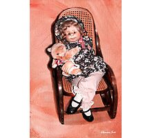 Handmade Doll in an Antique Rocker Photographic Print