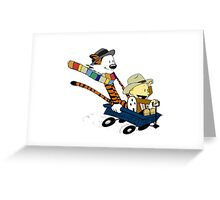 calvin and hobbes meets tardis go Greeting Card