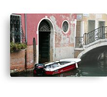 Pink Wall & Red Boat Metal Print