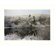 Snowy Lake Scene Art Print