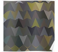 Feldgrau Gray Abstract Low Polygon Background Poster