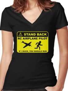 RC Airplane Pilot - Stand Back Women's Fitted V-Neck T-Shirt