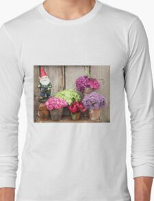 Still Life with Flowers & a Gnome Long Sleeve T-Shirt