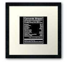 Mass Effect - Shepard Stats Framed Print
