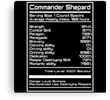 Mass Effect - Shepard Stats Canvas Print