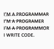 I write code (Black Version) Kids Tee