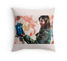 Clara Oswald and The Tiny TARDIS Throw Pillow