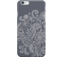Jacobean-Inspired Light on Dark Grey Floral Doodle iPhone Case/Skin