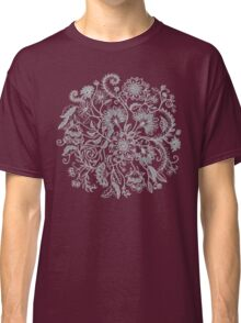 Jacobean-Inspired Light on Dark Grey Floral Doodle Classic T-Shirt