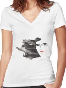 ink girl 3 Women's Fitted V-Neck T-Shirt