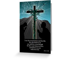 Religious Easter Card With Praying And Cross Greeting Card