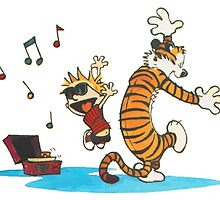 calvin and hobbes dancing with music by botolzena