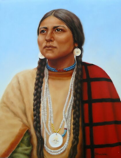Portrait Art: Spirit And Dignity - Native American Woman by Margaret Stockdale