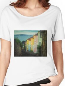 Fishermen's cottages in Mumbles Swansea  Women's Relaxed Fit T-Shirt