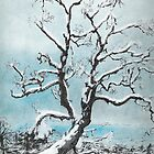 Fresh Fallen  snow on Mountain Oak by David M Scott