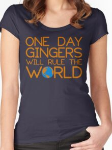 Funny Ginger Hair T Shirt - One Day Gingers Will Rule The World Women's Fitted Scoop T-Shirt