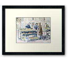 Market scene, Montbron, France Framed Print