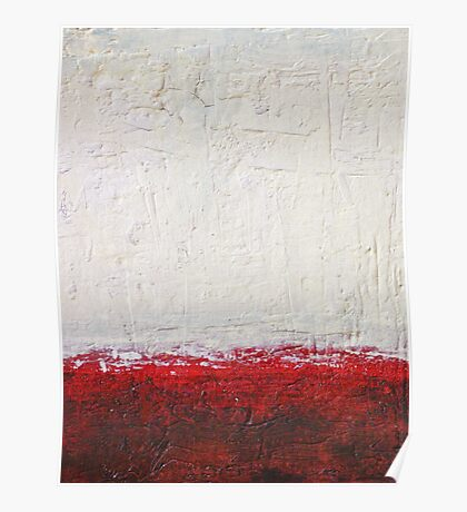 Simply Red 4 - mixed media abstract painting on canvas  Poster