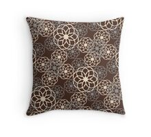 Brown and Silver Floral Pattern Throw Pillow