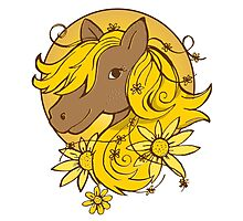 Sunflower Summer Pony Photographic Print