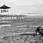 Child exploring on beach with small pagoda in background. Bali, Indonesia by Sheldon Levis