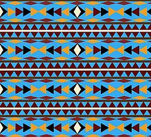 Navajo Blue Pattern Art by Christina Rollo