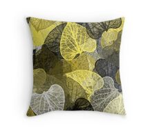 Black And Gold Leaf Abstract Throw Pillow