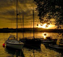 Malpas boats at sunset by Simon Marsden