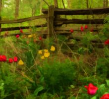 Dreamy Forest With Tulips - Impressions Of Spring Sticker