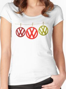 VW Badges Drying on the Line T-shirt Women's Fitted Scoop T-Shirt