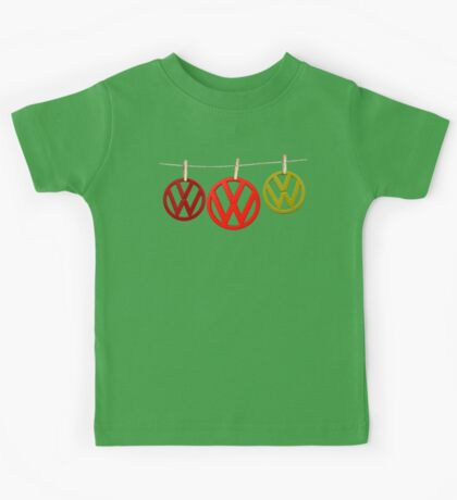 VW Badges Drying on the Line T-shirt Kids Tee