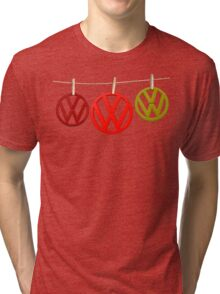 VW Badges Drying on the Line T-shirt Tri-blend T-Shirt