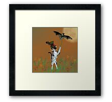 Steampunk Kitty Flying A Bat Framed Print