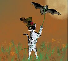 Steampunk Kitty Flying A Bat by FlaminCatDesign