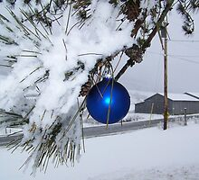 Snow scene with blue bulb  by debkd