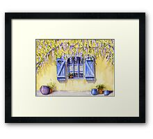 Yellow facade - blue shutters Framed Print