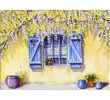 Yellow facade - blue shutters Photographic Print