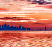 Pink and Purple Sunrise – Toronto Skyline Impressions by Georgia Mizuleva