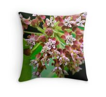 Pink Milkweed Flowers Throw Pillow