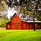 09-112 ~ Red Barn on a Summer Evening by djyoriginals