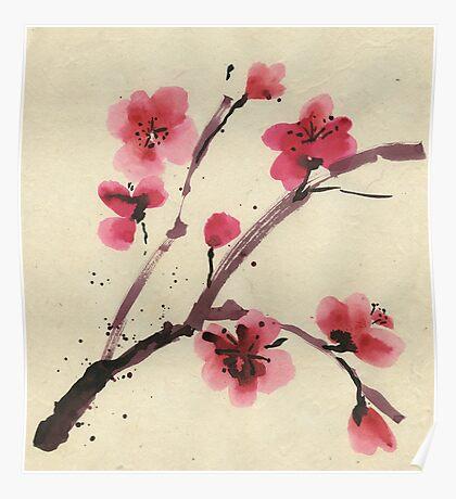 Flowering cherry. Spring. Poster