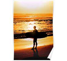 Surfer - Sunrise at Alexander Headlands Poster