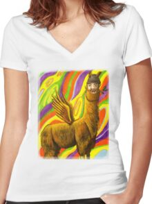 The Flying Llama Dude Women's Fitted V-Neck T-Shirt