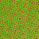 Silicon Atoms Mandala Red Green by atomicshop