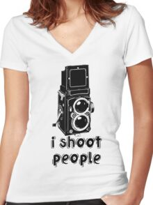 TLR Camera - I Shoot People Photography T Shirt Women's Fitted V-Neck T-Shirt