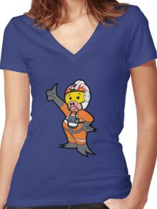 Leave it to Porkins  Women's Fitted V-Neck T-Shirt